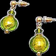 SALE Dazzling Venetian Art Glass Earrings, 24K Gold Foil, Peridot Murano Glass Beads, Lime Gre