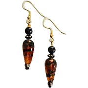 SOLD Fabulous Czech Art Glass Earrings, SCARCE 1960's Czech Tiger Stripe Glass Beads
