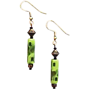 SALE Mod Czech Art Glass Earrings, RARE 1960's Olivine Czech Beads