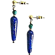 SALE Stunning German Lapis Glass Earrings, RARE 1930's German Lapis Glass Beads