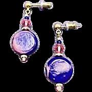 SALE Stunning Blue German Art Glass Earrings, RARE 1940's German Beads