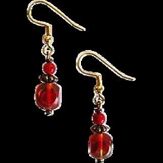 SALE Gorgeous Czech Art Glass Earrings, RARE 1950's Czech Satin Glass Beads
