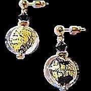 SALE Dazzling Venetian Art Glass Earrings, 24K Gold Foil Murano Glass Beads