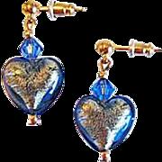 SALE Gorgeous Venetian Art Glass Earrings, Sapphire Blue 24K Gold Foil Murano Glass Hearts