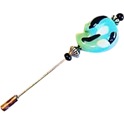 SALE Stunning Art Deco Venetian Glass Stick Pin, RARE 1930's Venetian Bead