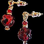 SALE Gorgeous Red Venetian Art Glass Earrings, RARE 1920's Venetian 24K Gold Foil Beads