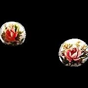 SALE Exquisite White Czech Art Glass Pierced Earrings, RARE 1960's Czech Glass Beads