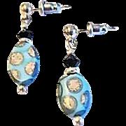 SALE Fabulous Venetian Glass Earrings, RARE 1930's Art Deco Venetian Beads, Satin Glass
