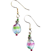 SALE Gorgeous Czech Art Glass Earrings, RARE 1940's Czech Glass Beads