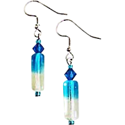 SALE Stunning German Art Glass Earrings, RARE 1940's German Glass Beads