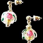 SALE Gorgeous Venetian Fiorato Art Glass Earrings, 24K Gold Foil Murano Glass Beads, Rose Foil