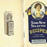 SALE PENDING RARE 1930's Baker Extract Cookbook, Advertising, Lithograph Illustrations, ...