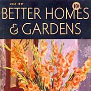 July, 1937 Better Homes & Gardens Magazine, Advertising - Architect Robert Carr, Modern Homes,