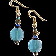 SALE Mod Aqua Czech Art Glass Earrings, RARE 1960's Czech Glass Beads