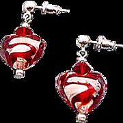 SOLD Gorgeous Venetian Art Glass Earrings, Red Swirl Silver Foil Murano Glass Hearts