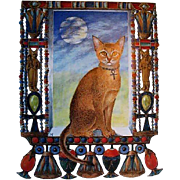 SOLD 1988 'Cherub Cat, Angel Tiger' First Edition, DJ, Marie Angel Paintings, Feline Art, Hist
