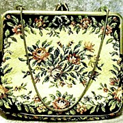 SOLD FABULOUS 1940's Vintage Austrian Floral Tapestry Purse RARE - Goldtone Chain / Made In Au