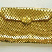 SOLD DESIGNER 1940's Whiting & Davis Evening Bag - Rhinestone Clasp / Gold Mesh / SCARCE / Vin