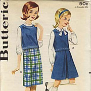 SOLD 1950's Butterick # 2825 Sub-Teens Skirt & Blouse, Size 12 - Bust 30 / UNCUT /  Vintage /