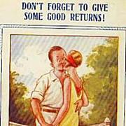 SOLD Collector's 1920's 'Tennis Comic' Bamforth Postcard 'Humor' - Couple Kissing on Tennis Co