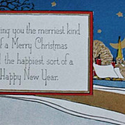 1920's Merry Christmas & New Year Postcard, Unused Vintage - Embossed, Gold Decoration, Epheme