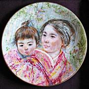 SOLD Edna Hibel 'Sayuri & Child' Signed, Royal Doulton, 1974 - Collector's Art Plate, Li