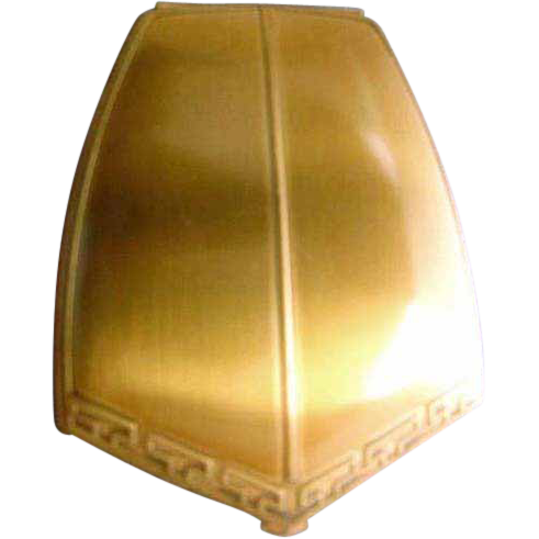 1930's Art Deco 'American Beauty' Signed Compact, Unused Pink Powder Puff, Goldtone, Vintage