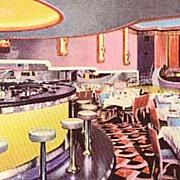 "1930's Art Deco Advertising Postcard  ""Chez Ami "" Restaurant - Theatre, Bar, Enterta"