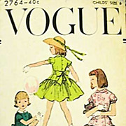 SOLD 1950's Vogue #2764 Girls' Dress Size 6, Bust 24 - UNCUT, Retro, Vintage Printed Pattern,