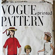 SOLD 1958 Vogue #2828 Girls' Size 6, Bust 24, UNCUT - Jacket, Blouse, Skirt, Pants, Printed Pa