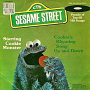 """1976 Sesame Street Cookie Monster 7"""" 45 Vinyl Record, Cookie's Rhyming Song, Muppets Chil"""