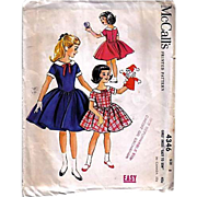1957 McCall's #4346 Girls' Dress, Size 8, UNCUT, Retro, Vintage Printed Pattern, Easy To Sew, Children