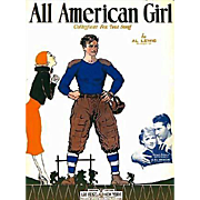 1932 'All American Girl' Sheet Music, RARE College Football Song, Al Lewis, 'All American' ...
