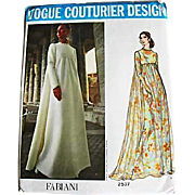 1970's FABIANI Vogue Couturier Design Pattern 2537, Misses' Empire Waist Evening Gown-Two Styl