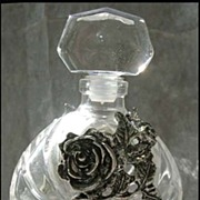 SOLD RARE 1960's French Crystal Perfume Bottle w/ Pewter - Cristal / VCA Glass-works / Made in