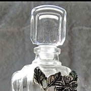SOLD RARE 1960's French Crystal Perfume Bottle DESIGNER - Unused / Pewter Flowers / Made in Fr