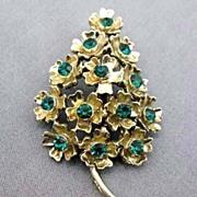 SOLD DAZZLING  Vintage Green Rhinestone Christmas Tree Pin - Goldtone / Floral Design / Brooch