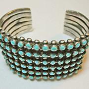 SOLD 1940's Zuni Sterling Silver, Turquoise Cuff Bracelet, Vintage, Southwestern, Native Ameri
