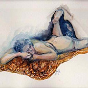 SOLD Stunning Nude Original Watercolor Painting, Signed - Artist Judith Jaffe, Nude Woman