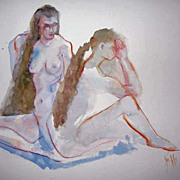 SOLD Stunning Original Watercolor Painting, Signed, Two Nude Women - Artist Judith Jaffe