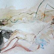 Stunning Original Watercolor Painting, Signed, Three Nude Women - Artist Judith Jaffe