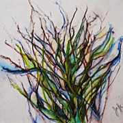 Stunning Original Watercolor Painting, Signed, Judith Jaffe - Meditation on Nature Series, Pen and Ink, Botanical,