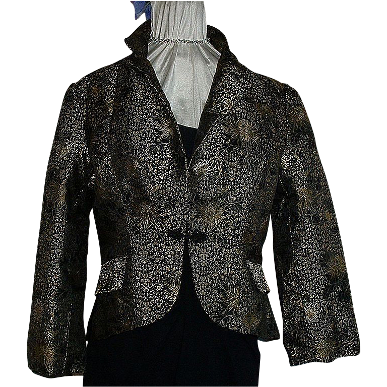 1960's Gold & Black Oriental Silk Jacket  sz 16