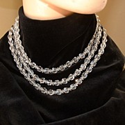 Three Strand Chrystal Necklace w/Clip Earrings