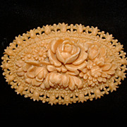 Molded Celluloid Floral Pin