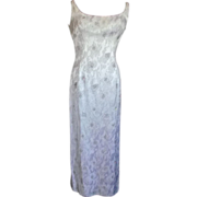 Full Length White Evening Gown w/Beadwork sz 10