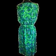 1960's Green & Blue Print Silk Dress S/M