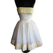 1950's Full Skirted Organdy Party Dress XS