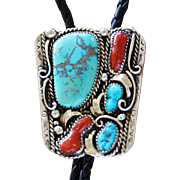 Vintage Bolo Tie Silver Turquoise Coral
