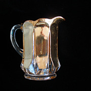 "Children's Glass ""Portland"" Lemonade/Water Pitcher Heavy Gold Wash Mint Condition"